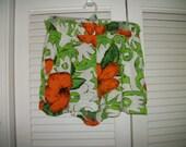 Vnt Forenza Shorts high elastic waist  Huge Orange flowers  sz L Boho Retro