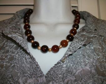 Black Agate  Necklace  Handmade Boho Unique   Big Bold  Fall colors