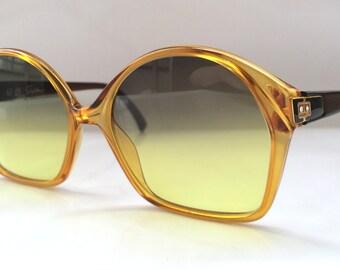 80s Vintage German Made Saphira Optyl Hexagon Frame Two Tone Honey Brown Sunglasses