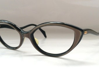 70s Vintage Spanish INDO Brown Pearlized Cat Eye Frame Womens Ladies Eyeglasses with Curvy Arms