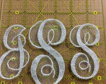 Individual  Embroidered Monogram Initials to self stitch onto veil