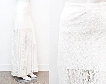 SALE Bohemian White Lace High Waist Sheer Skirt