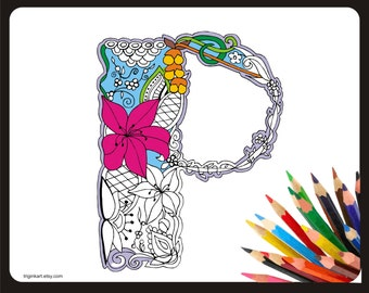 "Letter ""P"" Lilly style alphabet  Adult coloring page"