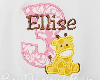 Girl's Giraffe Birthday Shirt, Giraffe Birthday Shirt, Giraffe 1st Birthday Shirt or Bodysuit, Any Age, You Pick Fabrics