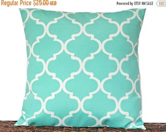 Christmas in July Sale Turquoise Quatrefoil Pillow Cover Cushion White Outdoor Moroccan Lattice Decorative 18x18