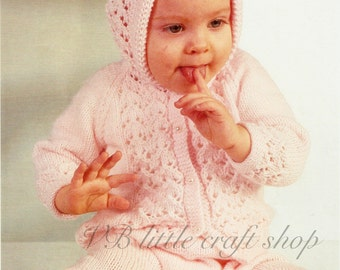 Baby's hooded jacket and leggings knitting pattern. Instant PDF download!