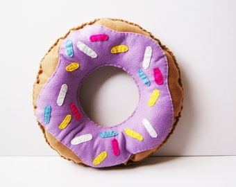 "11"" Doughnut Cushion with Lilac Frosting/Icing and sprinkles Plush Pillow Cool Food Felt Donut  Decoration Kids Room Gift"