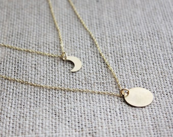 Moon Necklaces, Gold Layered Necklaces, Crescent Moon Necklace, Multi-strand Necklace, Personalized Jewelry, As Seen on Freeform's Stitchers