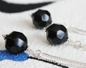 Black Bead Pendant | Sterling Silver Pendant Necklaces | Simple Bridesmaid Jewelry