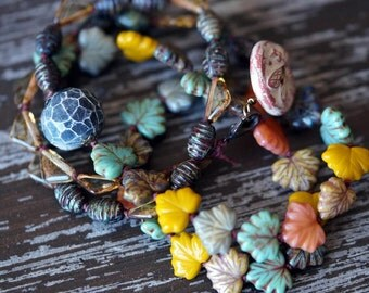 Eclectic Leaf Necklace - Earthy Necklace - Bohemian Necklace - Long Necklace - Earth Tones - Bead Soup Jewelry