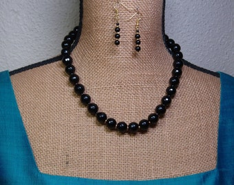 Natural Facated Black Onyx Gemstones, 24K Gold Filled Necklace and Earrings