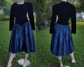 35% OFF Plus Size 80s Cocktail Dress/ 80s Prom Dress/ Vintage Dress/ Vintage Bridesmaid Dress by For You in Black and Blue Size 16