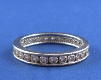 Sterling Eternity Band Ring Vintage Diamonique Sz 7