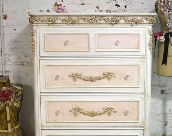 Painted Cottage Chic Shabby Romantic French Dresser / Chest