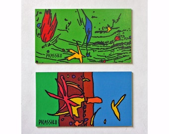 Singin' in the Rain & Joyful Magnet Set brightly colorful whimsical collectible abstract art