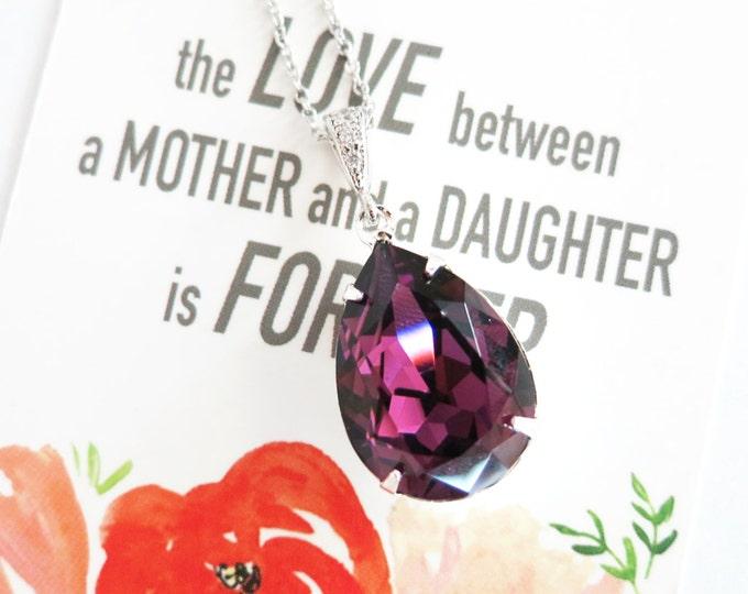 Sandra - Swarovski Amethyst Crystal Teardrop Necklace, Bridesmaid Necklace, Bridal Wedding Jewelry, Purple Lavender, Swarovski Crystal Drops