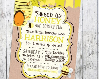 Bumble Bee First birthday party invitation Boy or Girl, Pink and Blue can be added, Photo can be added