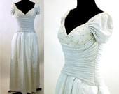 Draped dress wedding dress sweetheart neckline ruched waist Morton Myles Size 8 soutache and rhinestones 1980s