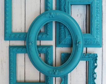 Turquoise Frames, French Cottage Old Frames, Ornate Frames, Chic Cottage Decor, Paris Apartment Decor, Hand Painted Distressed Frames