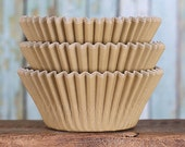 Light Brown Cupcake Liners, BakeBright Cupcake Liners, Brown Baking Cups, Cupcake Cases, Cupcake Wrappers, Pale Gold Cupcake Liners (60)