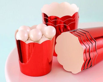 Mini Metallic Red Baking Cups, Red Cupcake Cups, Mini Red Candy Cups, Wedding Favor Cups, Christmas Baking Cups, Mini Treat Cups (24)