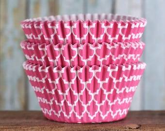 Pink Cupcake Liners, Quatrefoil Cupcake Liners, BakeBright Cupcake Liners, Pink Cupcake Liners, Baking Cups, Cupcake Cases, Casa Blanca (60)