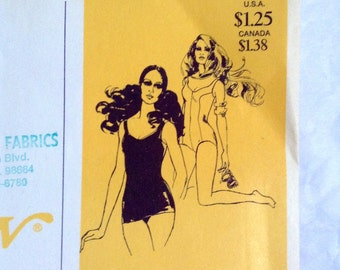 Vintage 70's One piece swimsuit sewing pattern.   Stretch & Sew #1300.   1970s.  RARE.  Uncut.  Misses Sizes 8 to 22.    Instructions.