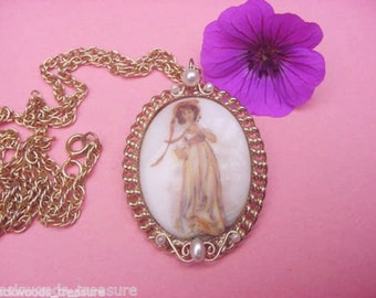 Vintage Girl Young Lady Cameo Brooch Pin & Pendant Necklace with Pearls