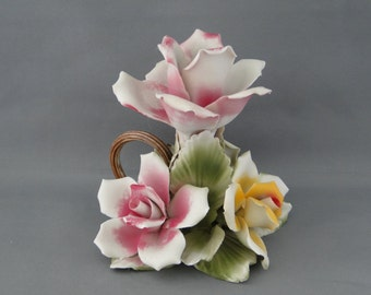 Vintage Capodimonte Italian Porcelain Candle Holder
