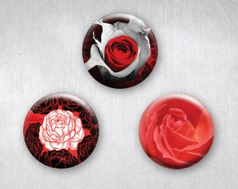 Red Hot Roses & Peony Flowers, Love Pinback Buttons, Original Art Design, 1.25 inch, Set of 3