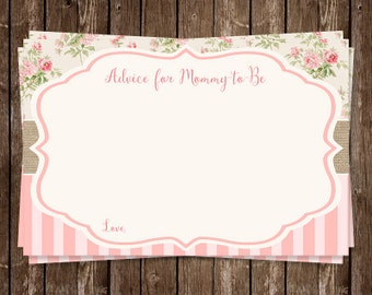 Simple Chic Baby Shower Advice Cards, Wisdom for Mommy, Mint, Pink, Floral, Wreath, Set of 24 Printed Cards, FREE Ship, SBYCH, Shabby Chic