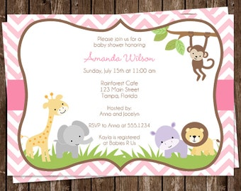 Jungle, Baby Shower Invitations, Safari, Pink, Chevron, Stripes, 10 Printed Invites, FREE Shipping, WWEPK, Wild with Excitement Girls