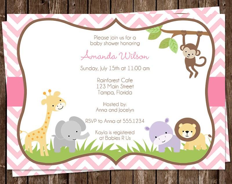 jungle baby shower invitations safari pink chevron