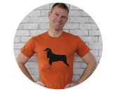 Rottweiler Men's Tshirt, Hand Printed Graphic Tee Rust Orange Cotton Crewneck Shirt, Gift For Men, Dog Lover, Family Pet, Rotty Puppy animal