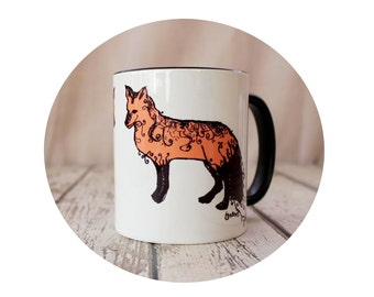 Fancy Fox Sublimated Coffee Mug, Ceramic Cup, Woodland Animal, Sublimation, Orange White and Black, Handmade Art Sublimate Hot Beverage Cup