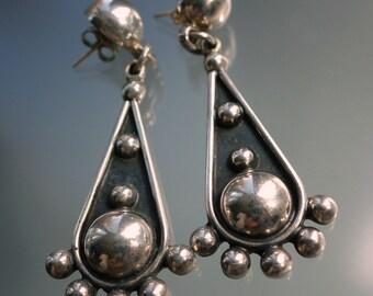 Vintage Taxco Sterling Dome Earrings