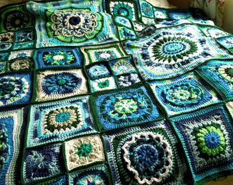 Circles and Squares Granny Square Crocheted Afghan