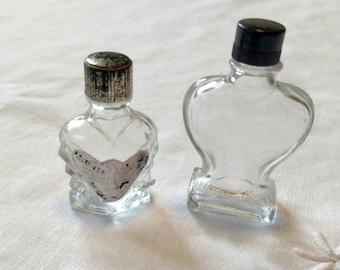 Lot of 2 Vintage Heart-shaped Miniature Perfume Bottles