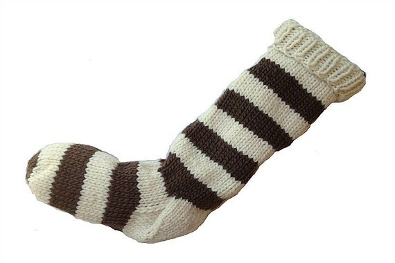 Hand Knit Christmas Stocking Natural White and Chocolate Brown Striped Wool Santa Sock