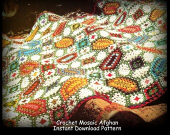 Crochet Mosaic Afghan Pattern - Instant Download PDF Pattern 12213122