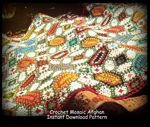 Mosaic Crochet Afghan Pattern : Crochet Mosaic Afghan Pattern Instant Download PDF Pattern