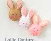 Bunny Felt Brooch, Pin felt animals,Easter Bunnies, gift for her white cream