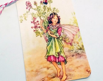 Pink N Green Fairy - Gift Tags - Set Of 3 - Vintage Fairy - Flower Fairy  - Garden Tags - Fairy Tags - Fantasy Tags - Thank Yous
