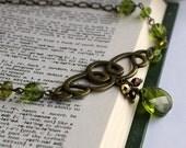Olivine Green Briolette Vintage Inspired Necklace