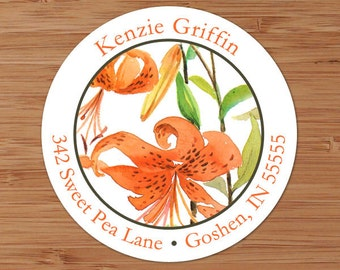 Tiger Lilies - Custom Address Labels or Stickers