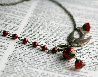 Scarlet - Vintage Inspired Swallow and Red Pearl Necklace