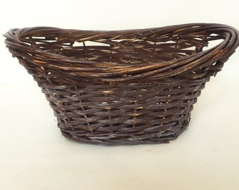 Brown Rustic Basket Decorative White Washed