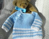 RESERVED for CATHLEEN - 18-24 mo.  Crochet Infant Boy Sweater, Pastel Blue, Antique White Stripes, Pullover,  12 mo.