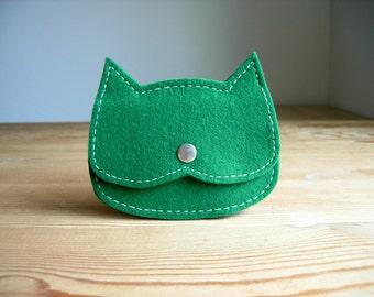 forest green felt wallet cat shaped , kids felt cat coin purse, tiny pouch, kids gift idea, crazy cat lady gift, ,vegan pouch