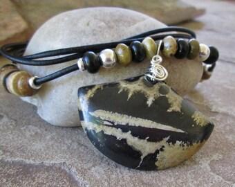 Chohua Jasper Leather Necklace Black Tan Artistic Gemstone Womens Adjustable